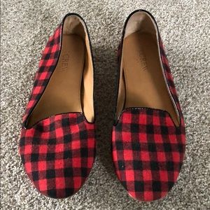 Jcrew red and black gingham ballet flats